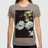 Pink flowers Womens Fitted Tee Tri-Coffee SMALL