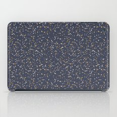 Speckles I: Dark Gold & Snow on Blue Vortex iPad Case