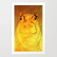 Golden Hippo Art Print