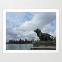 Retiro Park Lion Art Print