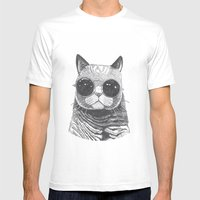 cool cat Mens Fitted Tee White SMALL