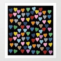Hearts #3 Black Art Print