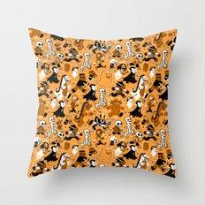 Monster March (Orange) Throw Pillow