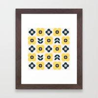 Vintage geometric flowers II Framed Art Print