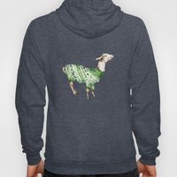 Llama in a Green Deer Sweater Hoody