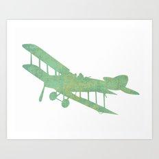 Green nursery airplane wall art print vintage Art Print