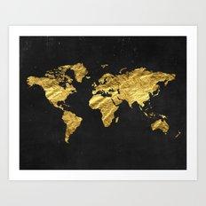 Black Gold Decor, Gold World Map, Office Decor, Bathroom, Glam, Black Wall Art Art Print