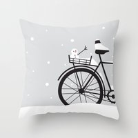 Bicycle & Snow Throw Pillow