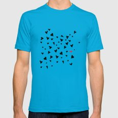 black hearts with one pink one  Mens Fitted Tee Teal SMALL