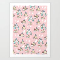 Art Print featuring PINK MAGIC FOREST by Ana Depuntillas