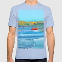 Abstract summer fun and surf rescue boat Mens Fitted Tee Tri-Blue SMALL