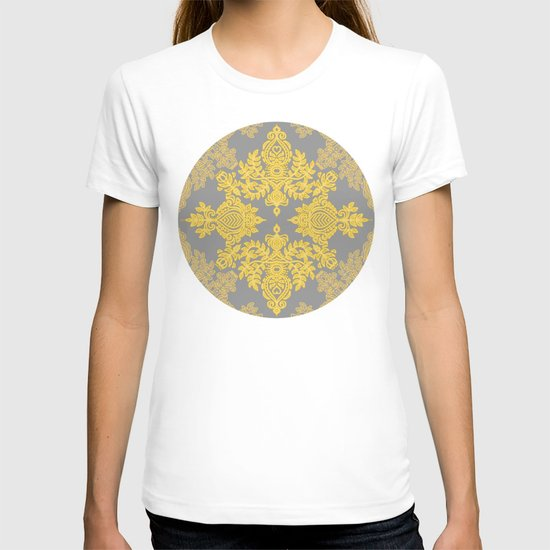 Golden Folk - doodle pattern in yellow & grey T-shirt