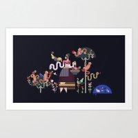 Monkeys And Fruits Art Print