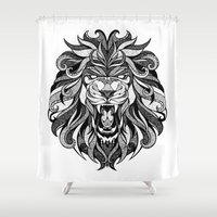 Angry Lion - Drawing Shower Curtain