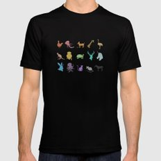 Glitter Animals A Black SMALL Mens Fitted Tee