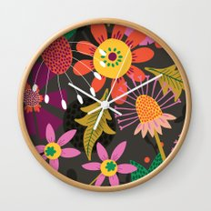 Jungle Flowers Wall Clock