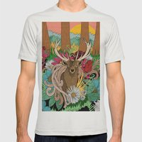 Spring Woodland Mens Fitted Tee Silver SMALL