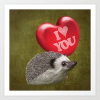Hedgehog In Love With A … Art Print
