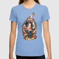 Waiting For Loves True K… Womens Fitted Tee Tri-Blue SMALL