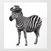 Zebra Cowboy Art Print