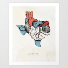The Heart of Texas (Red, White and Blue) Art Print