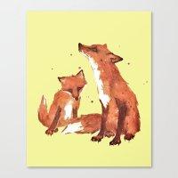 Lemon Foxes Canvas Print