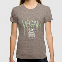VEGAN Womens Fitted Tee Tri-Coffee SMALL