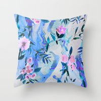 Floral Marble Swirl Throw Pillow