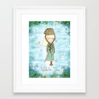 White Tea Girl Framed Art Print