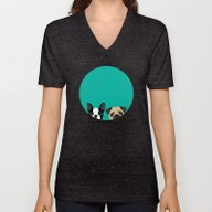 Unisex V-Neck featuring B Terrier & Pug by Anne Was Here