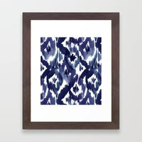 Indigo Blue Ikat Framed Art Print