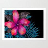 Pink Hibiscus Flower - B… Art Print