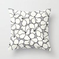 Hibiscus Animal Gray / G… Throw Pillow