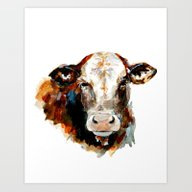 Cow Watercolor Art Print