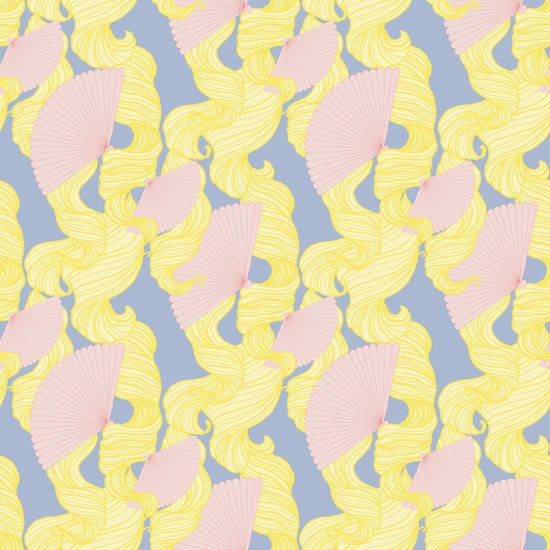 Spotted Fan & Trailing Hair // Pink & Yellow Pastels Art Print