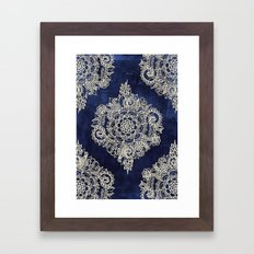 Cream Floral Moroccan Pattern on Deep Indigo Ink Framed Art Print