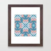 Pastel Fox Pattern Framed Art Print