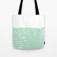 Half Knit Mint Tote Bag