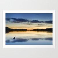 Blue dreams. Sunset at the lake Art Print