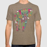 painted elephant aqua spot Mens Fitted Tee Tri-Coffee SMALL