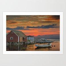 Last Light at Peggy's Cove Art Print