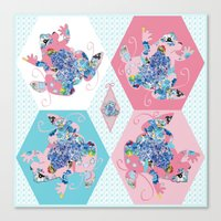The Pink Patchwork Frog Canvas Print