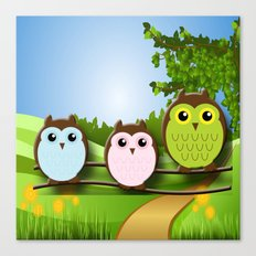 Country Owls Canvas Print