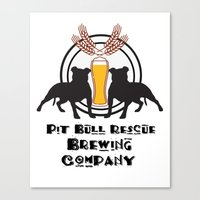 Pit Bull Rescue Beer Pos… Canvas Print