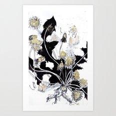 Gold Dandelions Art Print