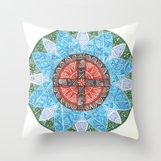 stained flower Throw Pillow