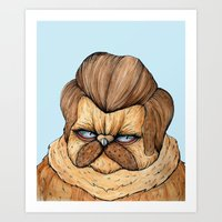 Ron Swanson Cat Art Print