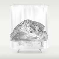 A Green Sea Turtle :: Grayscale Shower Curtain