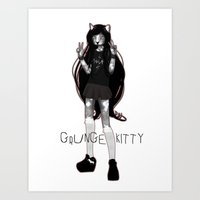GRUNGE KITTY Art Print