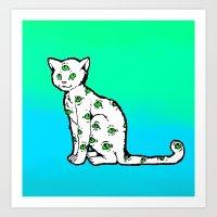 SCAREDY CAT (Cool Colors… Art Print